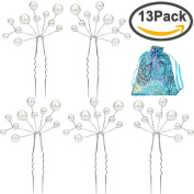 ANBALA Pack of 12 White Pearl Bridal Wedding Hair Pins Headwear Headdress Decorated Jewellery for Women Girls, Comes with a Gift Bag