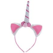 Mmrm Cute Girls Unicorn Shaped Hair Hoop Flower Decorated Headband Hair Accessory