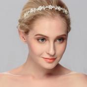 Ammei Silver Bridal Headband Hand Painted Flower Design Wedding Headpiece Simple Elegant Hair Accessory