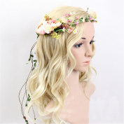 S-ssoy Women Handmade Rose Flower Headband Bride Wreath Vine Crown Floral Wedding Festivals Garland Decoration