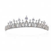 Yilanair Bridal Rhinestone Crystal Silver Crown Headband Tiara Jewellery for Wedding