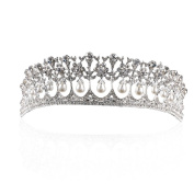 Yilanair Aritifical pearll Bridal Rhinestone Crystal Silver Crown Headband Tiara for Wedding