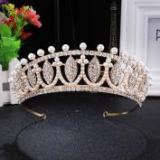 FUMUD Bridal Wedding Beauty Pageant Pearl Austrian Crystal Rhinestone Hair Tiara Crown
