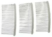 Enchanted Brides 27 Teeth Fancy DIY Tulle-Wrapped Metal Wire Hair Combs for Bridal Wedding Veil Combs(#C266x3)
