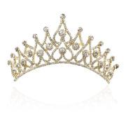 Yilanair Wedding Bridal Rhinestone Crystal Gold Tiara Crown Headband for Women