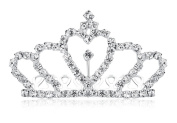 Lovelyshop Mini Crown Rhinestone Hair Comb for Wedding Bride Prom Birthday Pegeant Prinecess Party