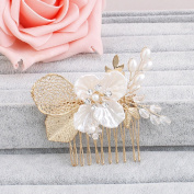 Ammei Bridal Gold Tiny Side Comb Wedding Headpiece Flower Design With Handmade Pearls