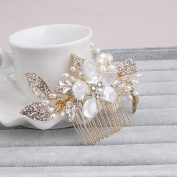 Ammei Gold Flower Design Side Comb Handmade Craft Wedding Headpiece With Pearls