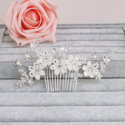 Ammei Bridal Headpiece Wedding Side Comb With Beads And Rhinestones Hair Jewellery