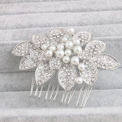 Ammei Silver Flower Design Tiny Bridal Side Comb Wedding Headpiece Vintage Hair Comb With Rhinestones And Pearls