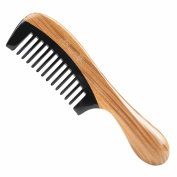 Breezelike Wide Tooth Round Handle Hair Comb - No Static Natural Hair Detangling Comb - Handmade Sandalwood Horn Comb with Premium Gift Box