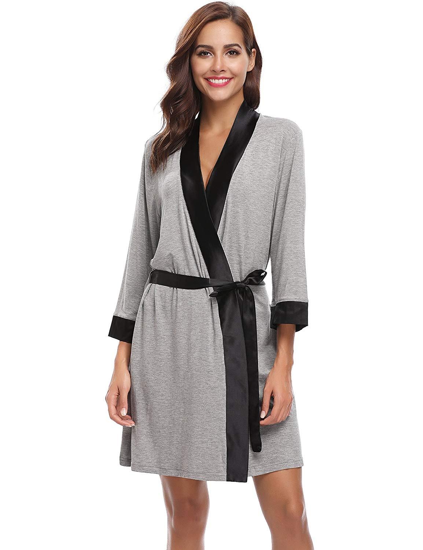 a1dbf36940 Aibrou Unisex Waffle Weave 100 % Cotton Bathrobe Dressing Gown Lightweight  Robe for Spa Hotel Sleepwear
