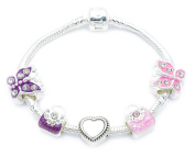 'Handbags and Butterflies' Children's Silver Plated Charm Bracelet with Gift Pouch