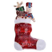 *UK* Gold-Tone Stocking With Toys Brooch 5.0 x 3.5cm Christmas Red Presents Gifts Pin Xmas Nutcracker