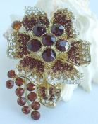 Sindary Admirable 8.5cm Orchid Flower Brooch Pin Topaz Austrian Crystal UKB4986