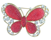 Sindary 7.5cm Charming Red Butterfly Brooch Pin Austrian Crystal Gold Tone UKB5400