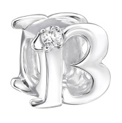 13th Birthday Bead - Sterling Silver - with Cubic Zirconia Stone