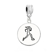 SEXY SPARKLES Women's Runner Girl Charm Bead Compatible For Most Snake Chain Bracelets