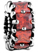 Square Red Crystal Charm Bead 925 Sterling Silver Fits Pandora Charm Bracelet
