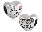 It's A Girl - Pink Crystal Baby Handprint - Sterling Silver Charm Bead - Spanglebead