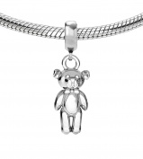Genuine Silver 925 teddy bear charm bead ideal for branded bracelet or necklace C3B