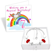 Girls 7th Birthday Sparkly Charm Bracelet Unicorn Birthday Card and Gift Box Set