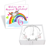 Girls 6th Birthday Sparkly Charm Bracelet Unicorn Birthday Card and Gift Box Set