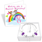 Girls 8th Birthday Sparkly Charm Bracelet Unicorn Birthday Card and Gift Box Set
