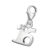 16th Birthday Charm - Sterling Silver - Lobster Clasp - with Cubic Zirconia Stone