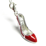 Queenberry Sterling Silver Ruby Red Enamel Slipper High Heel Shoe 3d Dangle Charm Pendant For European Style Clip On Charm W/ Lobster Clasp