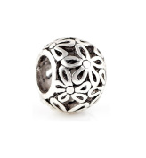 1pcs Tibetan Silver Charms Compatible with Pandora, Biagi, And Chamilia Flower ""