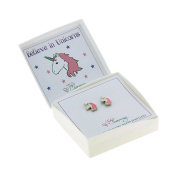 Sterling Silver 'Believe in Unicorns' Pink and White Stud Earrings Gift Boxed