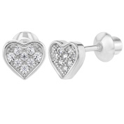 925 Sterling Silver CZ Pave Small Heart Screw Back Earrings for Girls