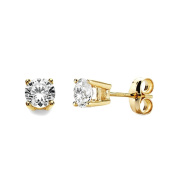 18k gold cubic zirconia earrings 4.5mm claws. [AB3311]