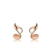 Epinki Gold Plated Womens Stud Earrings Music Symbol With Opal Rose Gold