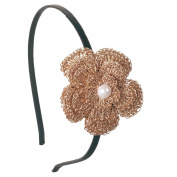 Crayon Flakes Kids Girls Golden Flower Hair Band Head Accessory with Pearl Bead