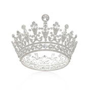 SWEETV Luxury Full Round Crystal Queen Crown Rhinestone Bridal Tiara Pageant Prom Wedding Hair Jewellery