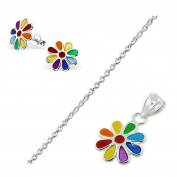 Children's/Teenagers Rainbow Flower Earrings & Necklace Set - Sterling Silver
