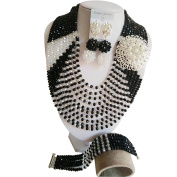 laanc Popular Necklace 10 Rows Black and White Crystal Nigerian Wedding African Beads Jewellery Sets A000230