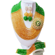 laanc 10 Rows Grass Green and Gold Champagne Nigerian African Beads Jewellery Sets Wedding Party