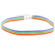 MJARTORIA Women Necklace Retro Rainbow Ribbon Choker Vintage Jewellery for Decoration 32cm Colourful