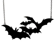 MJARTORIA Women Necklace Bats Shape Pendant Gothic Style Halloween Animal Jewellery 59cm Black