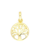 MyGold Tree of Life Pendant Yellow Gold 375/750 Gold earrings solid Ø 10 mm Mini Tree Necklace 18 K Gold Chain Botany Small Mod 07807