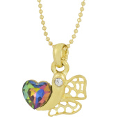 The Jewelbox Heart 18k Gold Plated Brass CZ Pearl Necklace Pendant Chain Set Girls