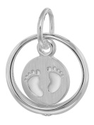 trendor Silver Pendant Christening Ring with Baby Feet 08309