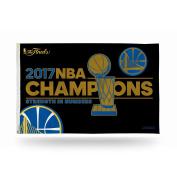 NBA Golden State Warriors 2017 Basketball Champions Banner Flag, 0.9m x 1.5m, Royal Blue, Gold