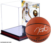 Kevin Durant Warriors Autographed 2017 NBA Finals Champions Basketball with NBA Finals Champs Mahogany Basketball Display Case & Sublimated Collage - Panini Authentic