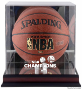 Golden State Warriors 2017 NBA Finals Champions Logo Mahogany Basketball Display Case with Mirrored Back - Fanatics Authentic Certified