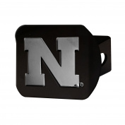 FANMATS 21041 Nebraska Black Hitch Cover , Team Colour, 8.6cm x 10cm