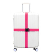 Cross Suitcase Baggage Luggage Packing Belt With Plastic Clips-Rose Red